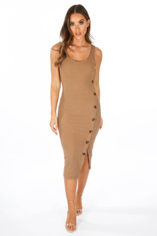 Ribbed Jersey Midi Dress With Button Detail In Taupe