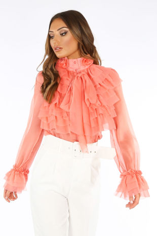 Coral Frilled Sheer Chiffon Pussy Bow Blouse