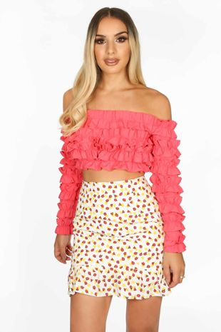 Fuchsia Ruffle Long Sleeve Crop Top