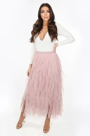 Blush Pink Draped Tulle Skirt
