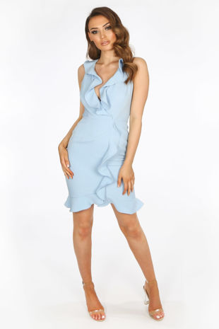 Blue Ruffle Plunge Front Mini Dress