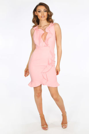 Pink Ruffle Plunge Front Mini Dress