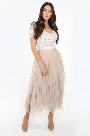 Beige Draped Tulle Skirt