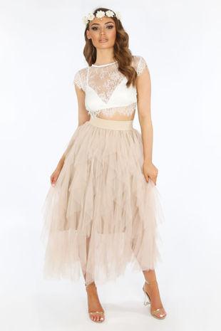 Ruffle Draped Tulle Skirt In Beige