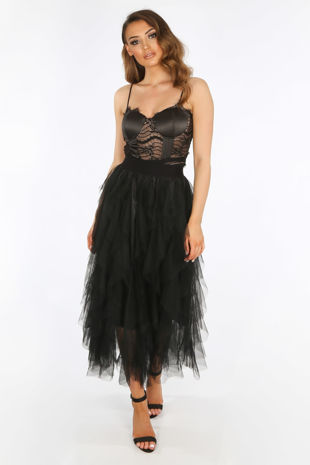 Ruffle Draped Tulle Skirt In Black