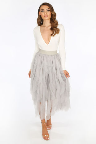 Ruffle Draped Tulle Skirt In Grey