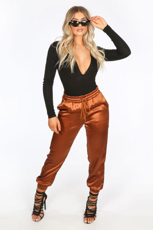 Camel Satin Joggers With Elasticated Cuff