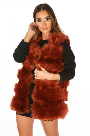 Rust Super Soft Faux Fur Gilet
