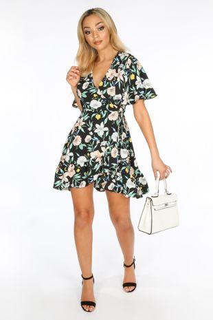 Short Sleeve Mini Wrap Dress in Black Floral Print