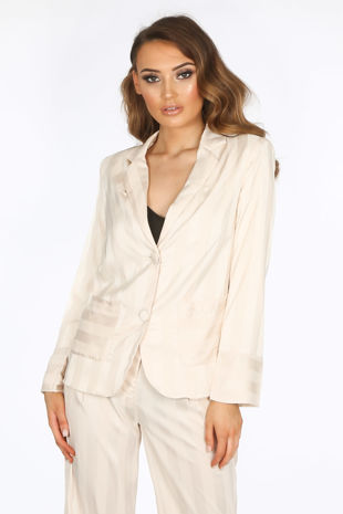 Cream Embossed Stripe Satin Blazer