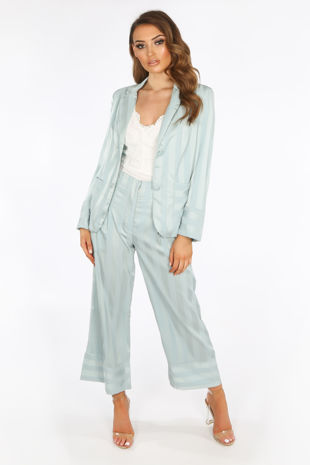 Mint Embossed Stripe Satin Cropped Trouser
