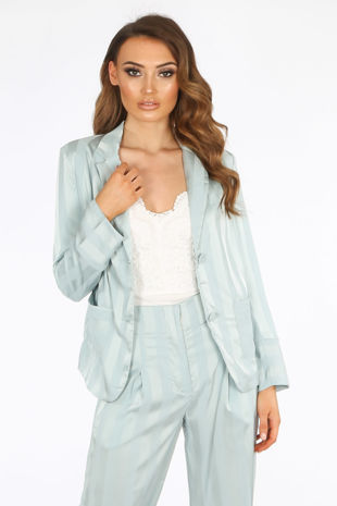 Mint Embossed Stripe Satin Blazer