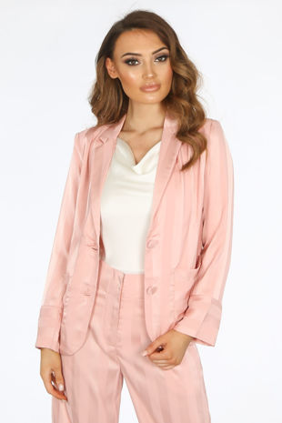 Pink Embossed Stripe Satin Blazer