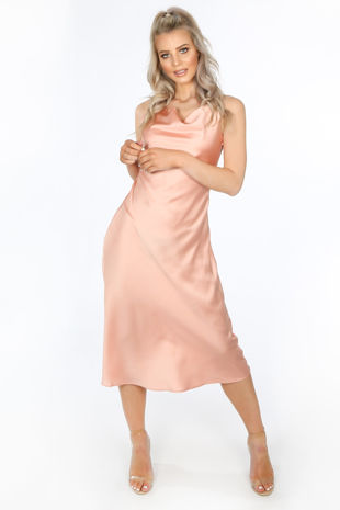 Satin Cowl Neck Midi Dress In Pink