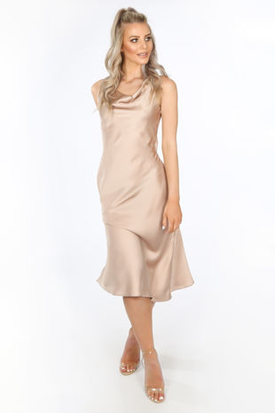 Satin Cowl Neck Midi Dress In Nude