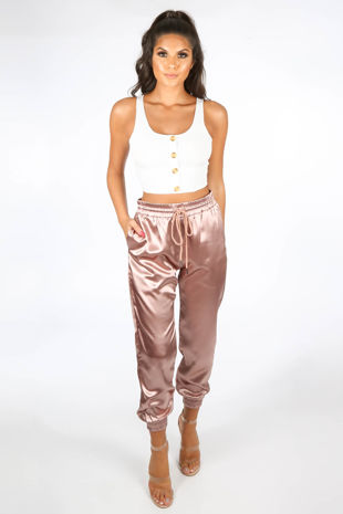 Pink Satin Joggers With Elasticated Cuff