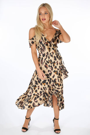Taupe Leopard Print Wrap Midi Dress