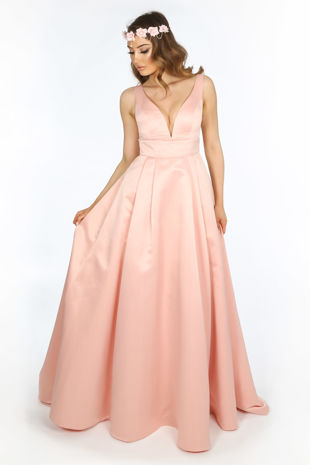 Plunge Neck Satin Maxi Dress In Pink