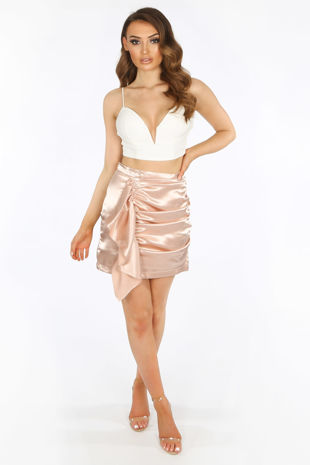 Nude Satin Frill Front Mini Skirt