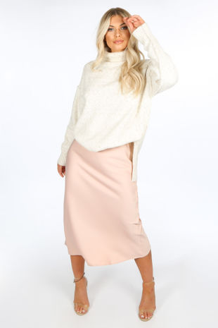 Pink Satin Bias Midi Skirt
