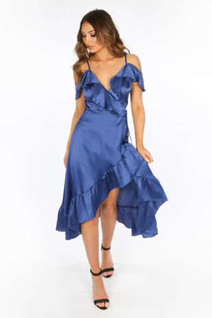 Blue Cold Shoulder Satin Midi Wrap Dress