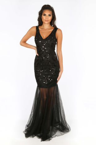 Premium Collection Sequin & Mesh Maxi Dress In Black