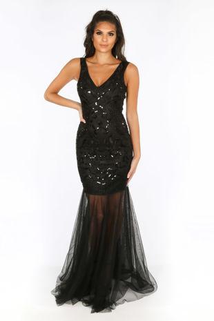Premium Collection Sequin & Mesh Maxi Dress In Black
