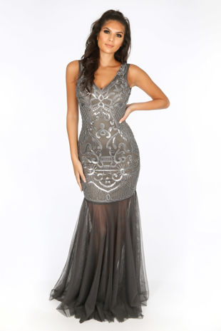 Premium Collection Sequin & Mesh Maxi Dress In Grey