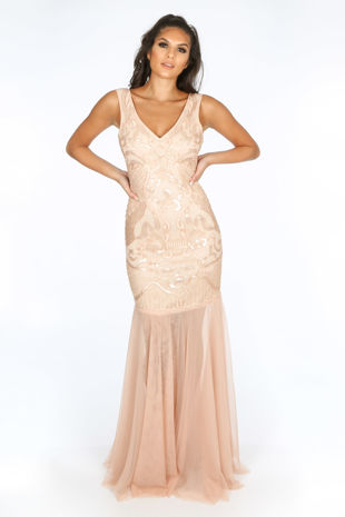 Premium Collection Sequin & Mesh Maxi Dress In Pink