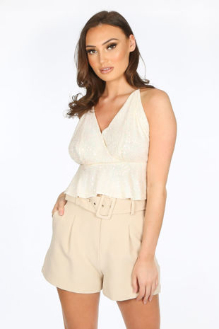 Strappy Sequin Peplum Cami Top In Cream