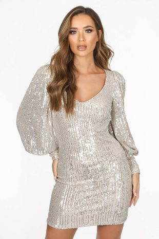 Champagne Long Sleeve Sequin Dress With Cuff