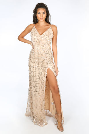 Gold Sequin Wrap Maxi Dress With Split