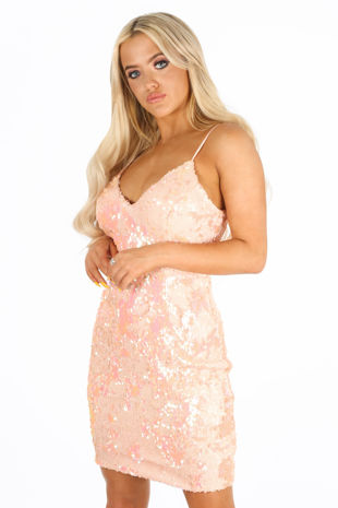 Sequin Strappy Bodycon Dress In Pink