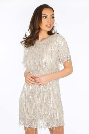 Sequin Short Sleeve Mini Dress in Champagne