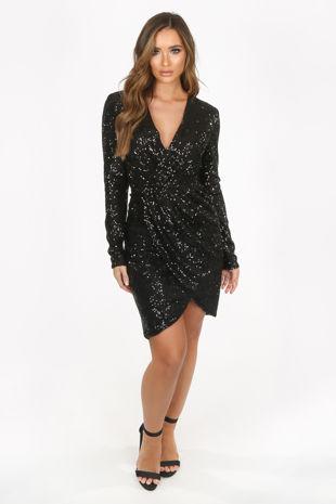 Black Long Sleeve Sequin Cross Over Dress