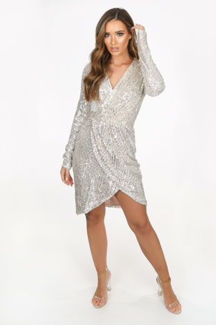 Champagne Long Sleeve Sequin Cross Over Dress