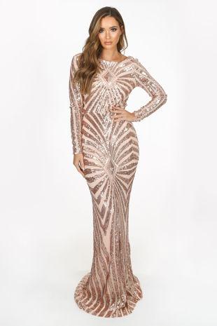 Rose Gold Long Sleeve Sequin Embellished Maxi Dress