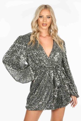 Long Sleeve Sequin Wrap Front Mini Dress in Silver