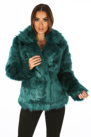 Luxe Faux Fur Coat In Teal