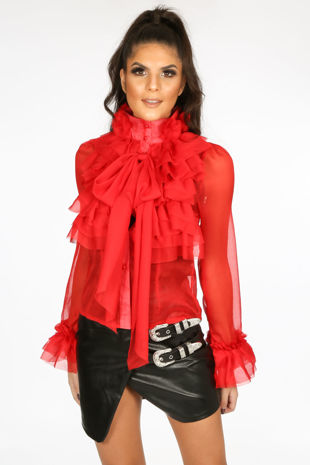 Red Frilled Sheer Chiffon Pussy Bow Blouse