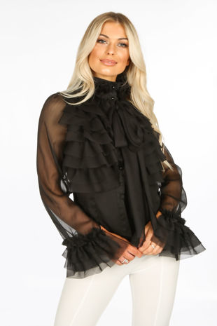 Black Frilled Sheer Chiffon Pussy Bow Blouse