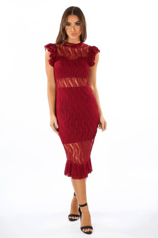 Sheer Lace Panel Midi Dress In Burgundy