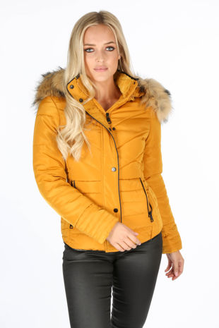 Mustard Quilted Puffer Jacket With Faux Fur Trim