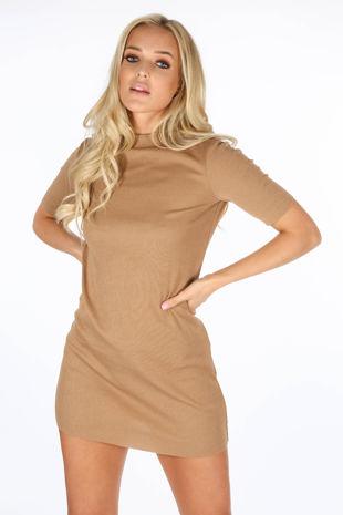 Taupe Ribbed Short Sleeve Jeresey Dress