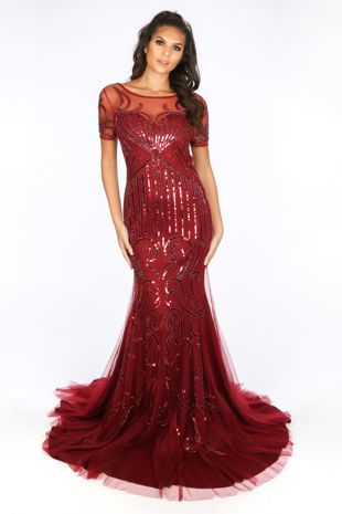 Premium Collection Short Sleeve Sequin Mesh Maxi Dress In Red
