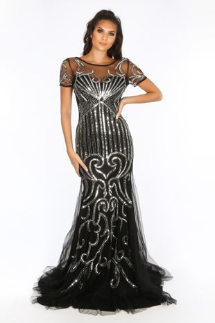 Premium Collection Short Sleeve Sequin Mesh Maxi Dress In Black