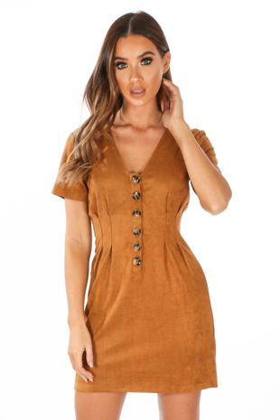Faux Suede Mini Dress With Button Detail In Camel