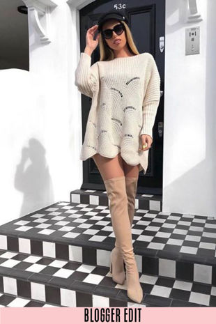Beige Oversized Jumper Dress With Scallop Hem