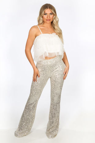 Champagne High Waisted Sequin Flare Trouser