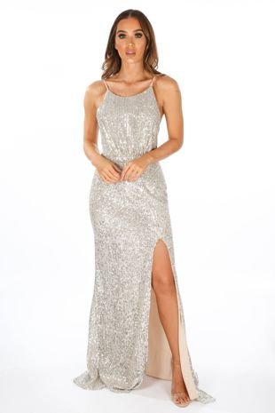 Silver Strappy Back Sequin Maxi Dress